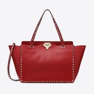 Valentino Rockstud red trapeze purse